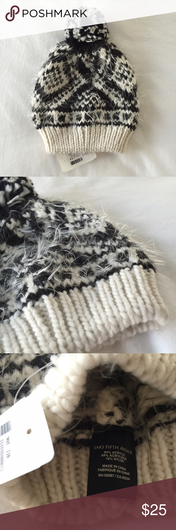 Saks 5th Avenue Fuzzy Pom Beanie Hat Brand new with tags no defects. Smoke free pet friendly Saks Fifth Avenue Accessories Hats