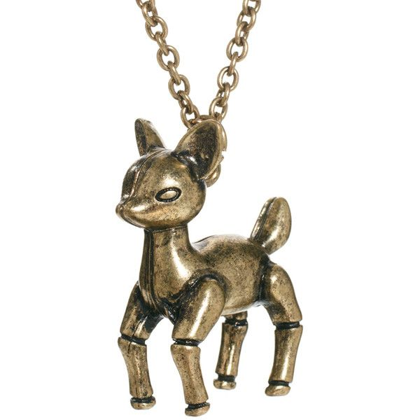 Pieces Cute Deer Necklace (€11) ❤ liked on Polyvore featuring jewelry, necklaces, accessories, pieces necklace, pieces jewelry, deer necklace, deer jewelry and metal necklace