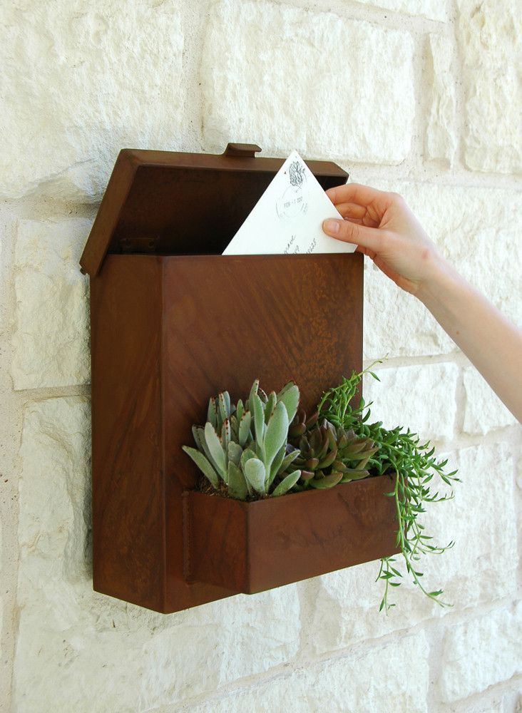 Plant Post It Mailboxbrown Modern Mailbox Metal Mailbox Mailbox On House Decorative wall mount mail box