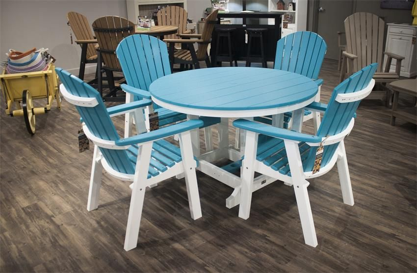 Berlin Gardens Five Piece Patio Furniture Poly Dining Set Poly