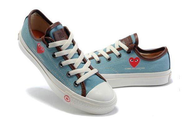 Converse Comme des Garcons Play III Light Blue Brown Low Top Canvas Shoes