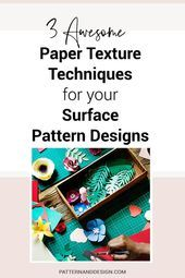 Pattern and Design. Learn to create surface pattern designs  Get some awesome tips and ideas that you can use as inspiration for your surface pattern designs. Learn how to use paper texture techniques that can inspire your next surface pattern or textile design collections for your design business. They're super easy and lots of fun! #paperdesign #paper     This image has get 0 repins.    Author: Pattern and Design #Create #Design #Designs #Learn #pattern #Surface #surfacepatterndesign