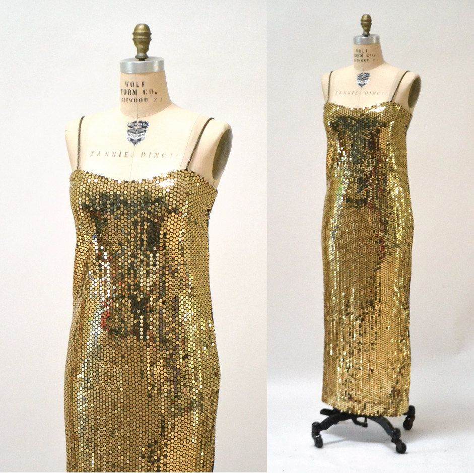 Vintage gold metallic sequin evening gown size large vintage gold