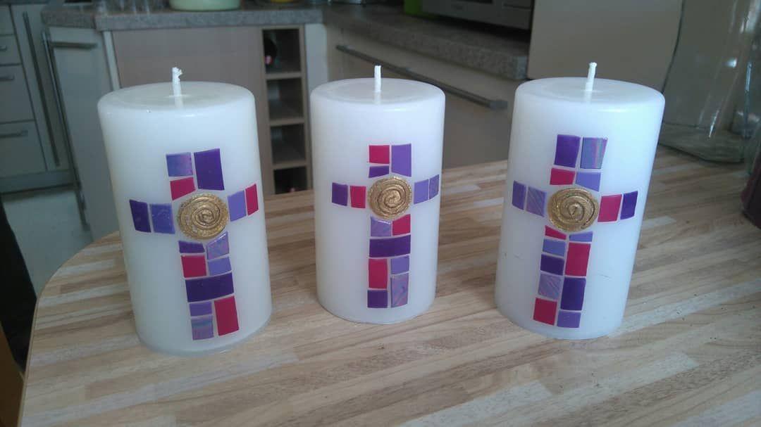 Kerzen Aus Weissen Wachsresten Gegossen Und Mit Wachsplatten