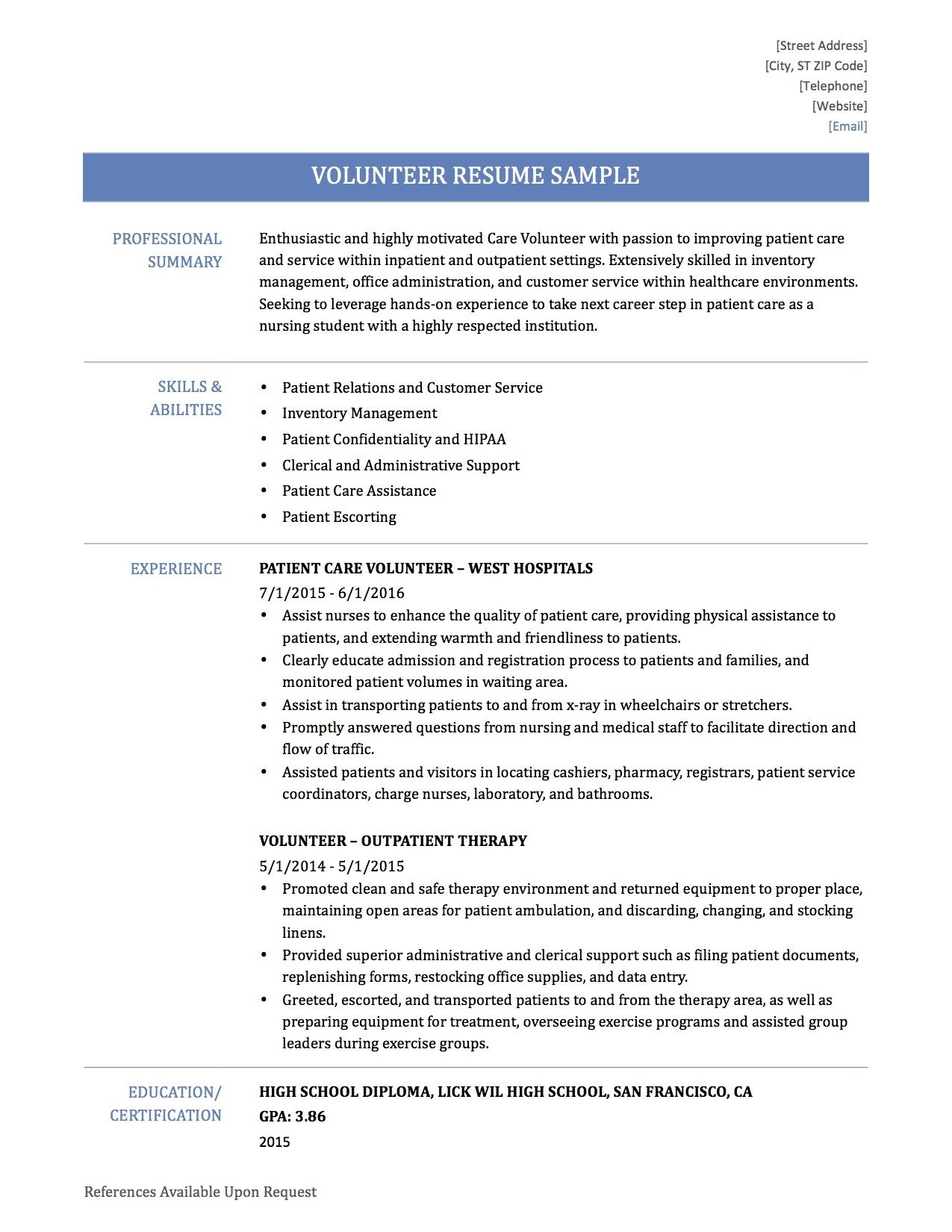 Volunteer Work In Resume Modern Resume Example