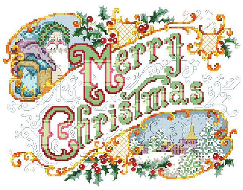 Cross Stitch PDF Pattern Merry Christmas Picture From Kooler Design Studio