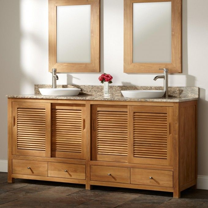 "Awesome 72"" Arrey Teak Double Vanity for Semi Recessed Sinks Inspirational - Cool teak bathroom vanity Model"