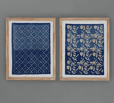 Framed Hand Painted Blue Textile Wall Art Textile Wall Art Framed Fabric Wall Art Fabric Wall Art