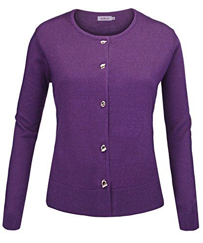 Knitandlove® Women Button Down Classic Long Sleeve Basic Soft ...