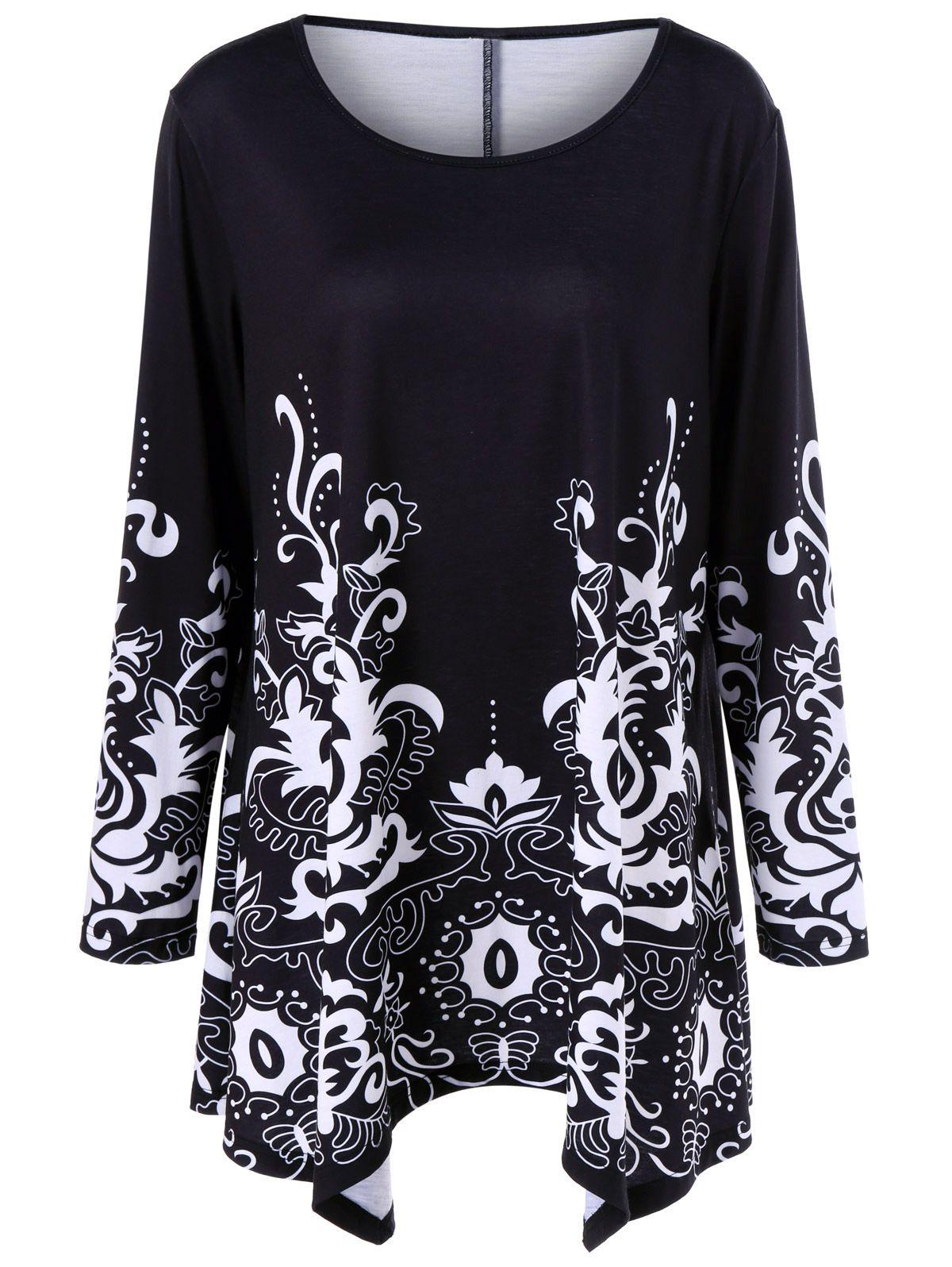 cf0350fa86c Plus Size Floral Print Asymmetric T-Shirt