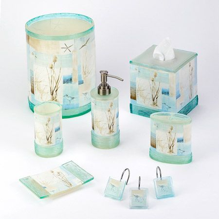 blue waters bath accessories oceanstylescomlove this - Beach Themed Bathroom Decor