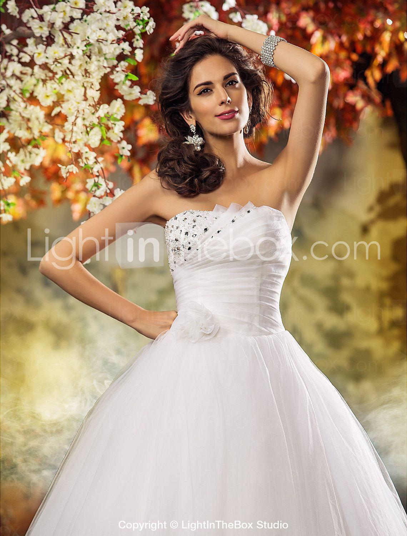 The lightbox wedding dresses  Aline Princess Strapless SweepBrush Train Tulle Wedding Dress