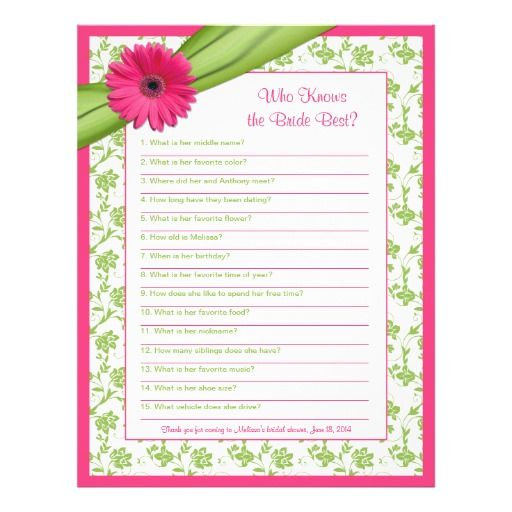 Bridal Shower Idea! Pink Gerbera Daisy, Green Floral And