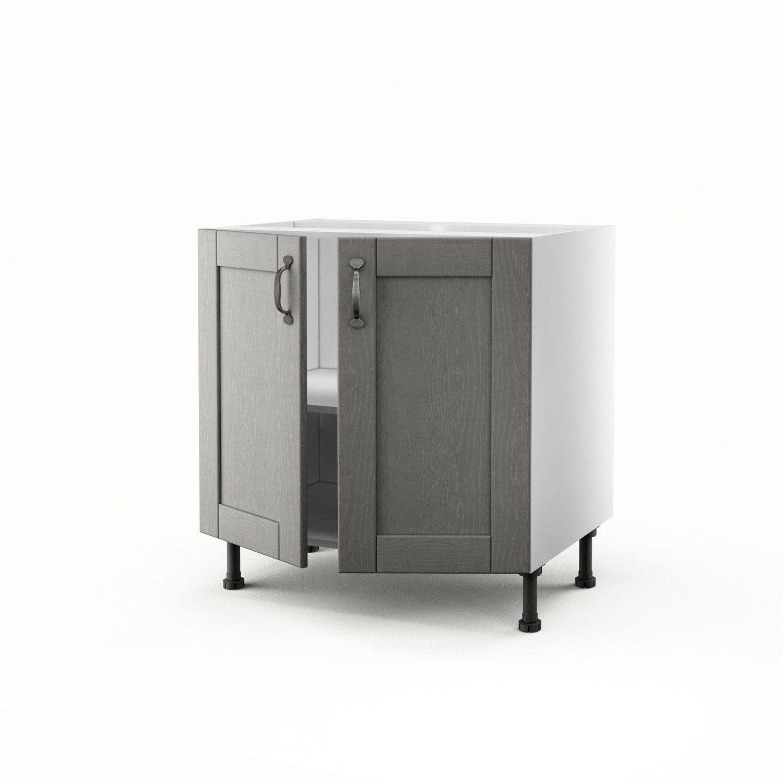 Meuble de cuisine bas gris 13 portes Nuage H.13 x l.13 x P.13 cm