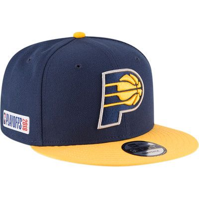 30d9a7c9c Men's New Era Navy/Gold Indiana Pacers 2018 NBA Playoffs Two-Tone ...