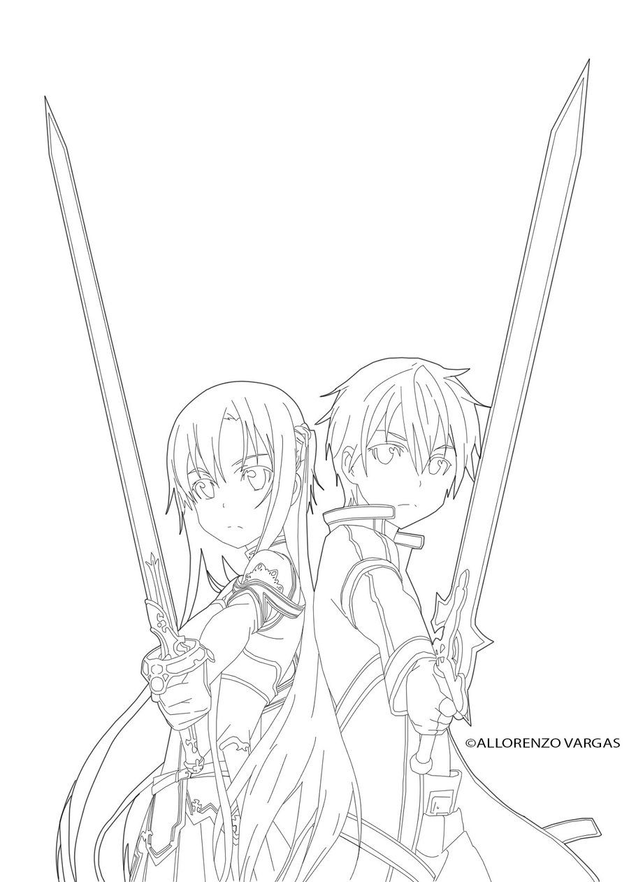 Sword art online kirito x asuna line art by puuuusa