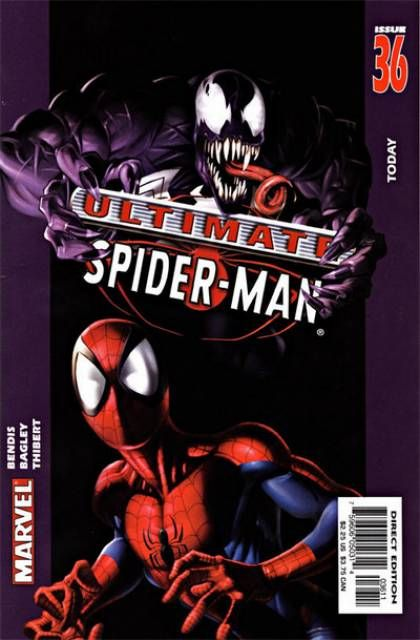 The cover to Ultimate Spider-Man #36 (2003), art by Mark Bagley, Art Thibert, & Transparency Digital