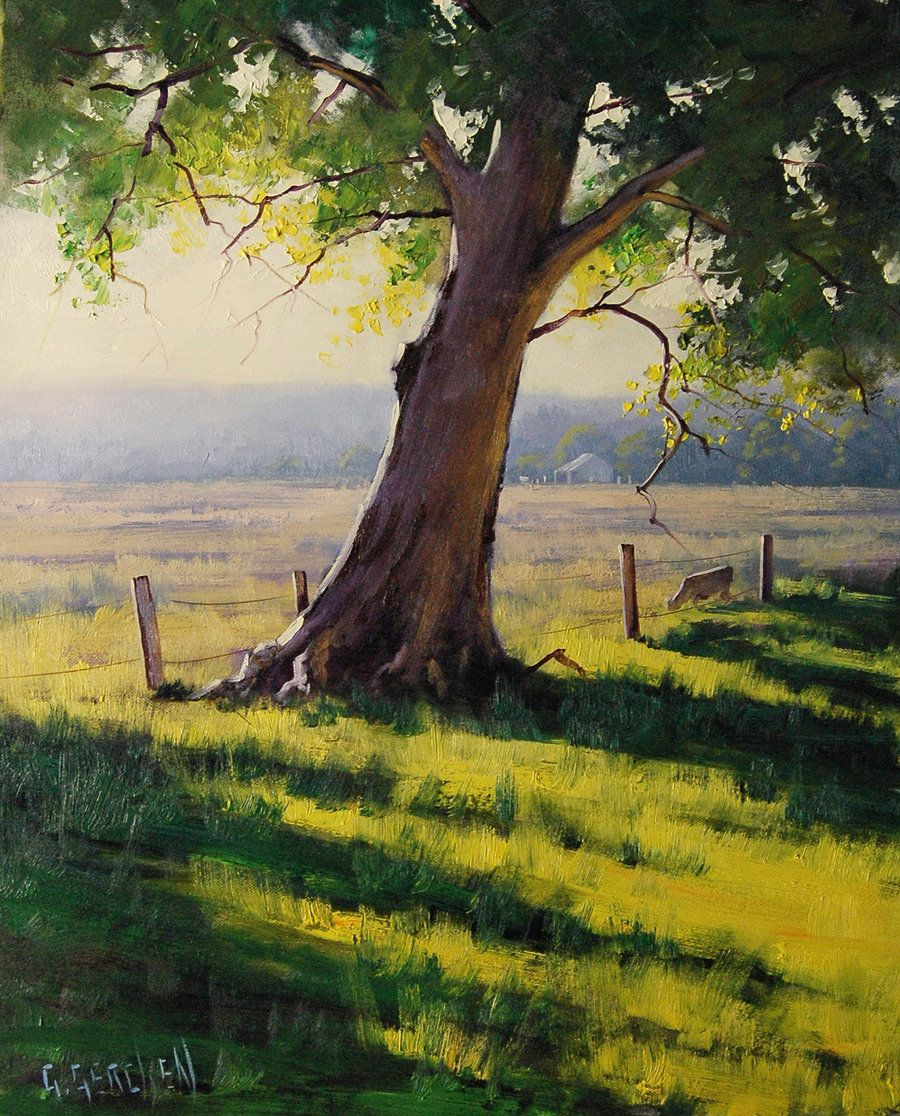 Distant Farm Painting by on