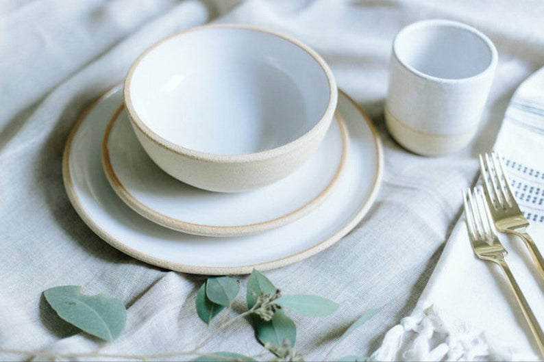 Limited Edition Handmade Pottery Dishes White Plate Settings With Unglazed Rim Pottery Stoneware Ceramic Dinnerware Sets In 2020 Handmade Pottery Pottery Glazes For Pottery