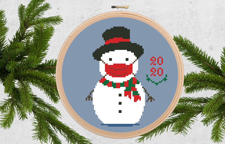 Covid Christmas 2020, Snowman mask cross stitch PDF pattern, Quarantine sampler, Pandemic ornament