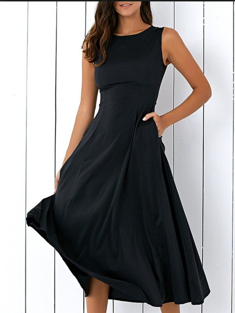 Aline Pockets Sleeveless Elegant Crew Neck Dress