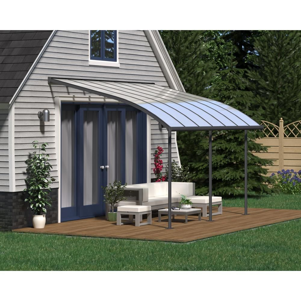 Palram Joya 10 Ft X 14 Ft Grey Patio Cover Awning 704453 The Home Depot Patio Pergola Pergola Patio