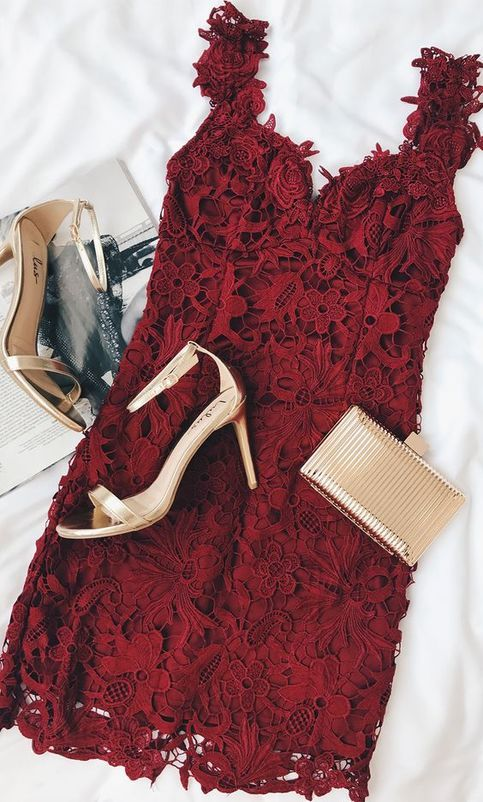 Lace Burgundy Lace Bodycon Dress,Short Prom Dresses,Homecoming Dresses,158