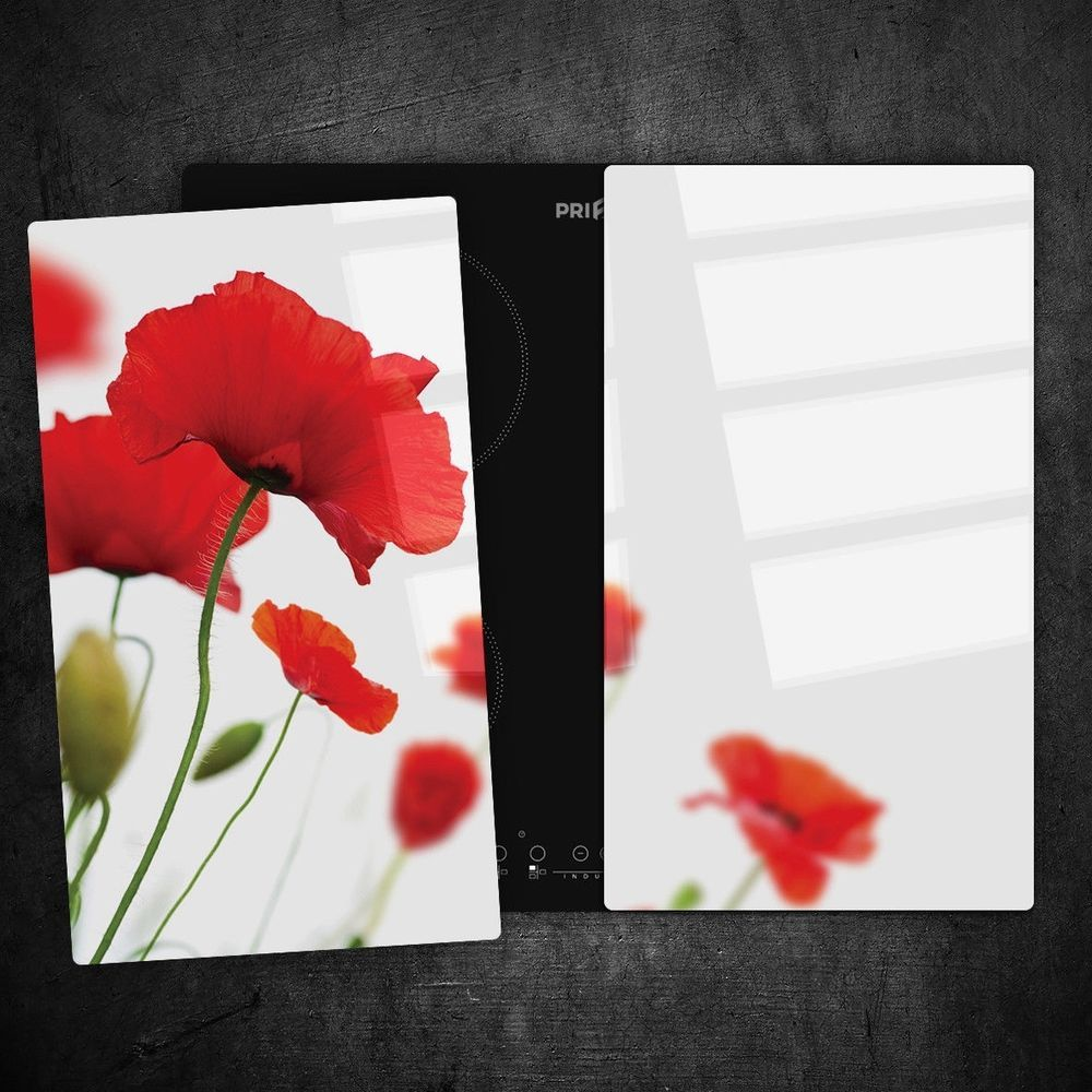 Glass Worktop Saver Ceramic Induction Hob Protector Cover Poppy field