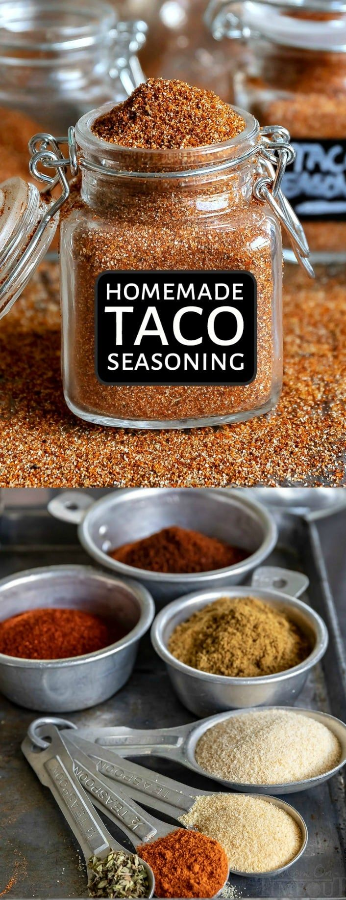 This easy homemade Taco Seasoning recipe is a pantry staple! It adds amazing flavor to beef, chicken, veggies and more! We love using it with enchiladas, tacos, burritos, and so much more! A simple blend of spices that you already have on hand makes this DIY taco seasoning a yummy alternative to store bought mixes. // Mom On Timeout #taco #tacotuesday #tacoseasoning #mexican #seasoning #mixes #diy #tacos #diytacoseasoning