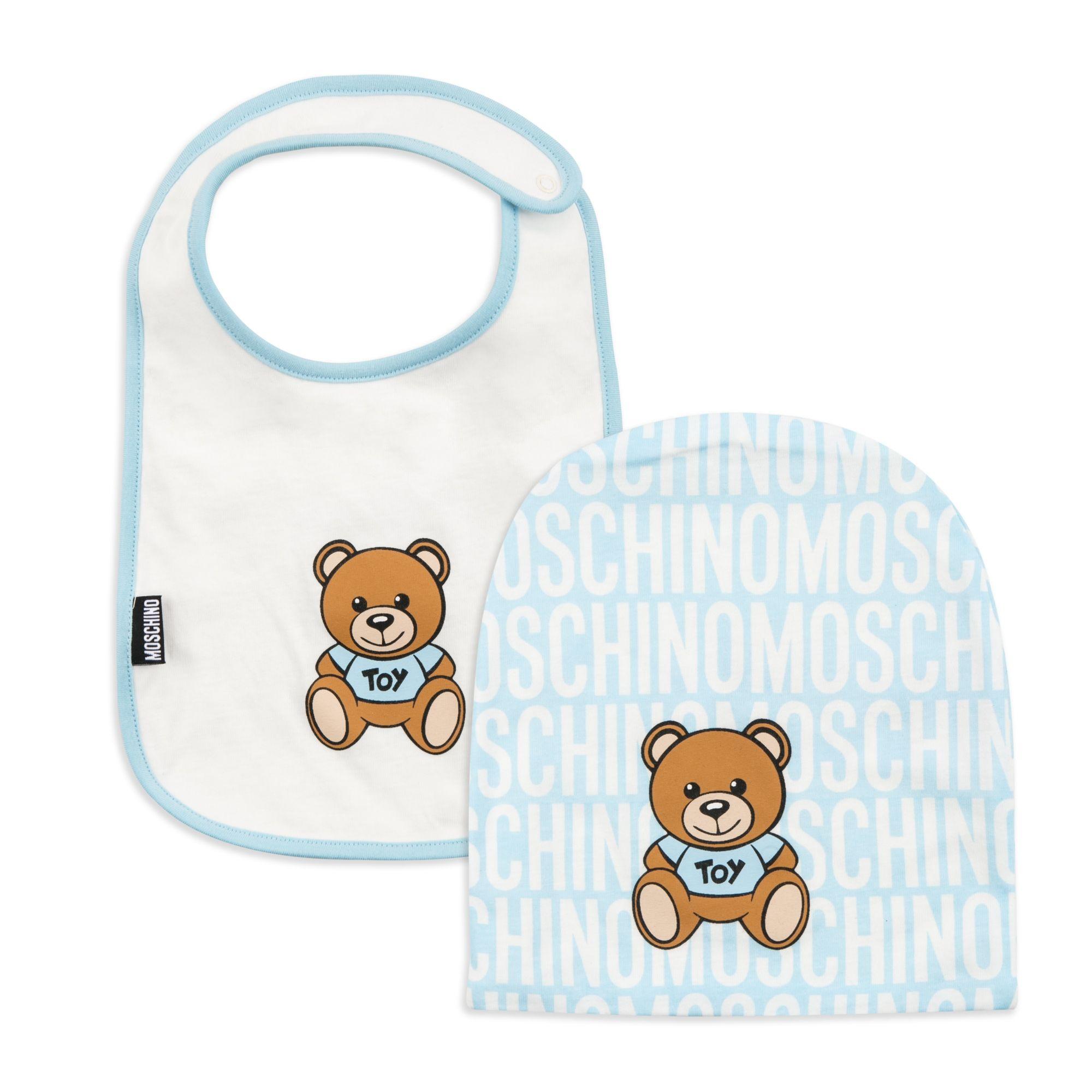 19393a8f0010 MOSCHINO Baby Boys Hat & Bib Gift Set - Blue Baby boys gift set • Soft