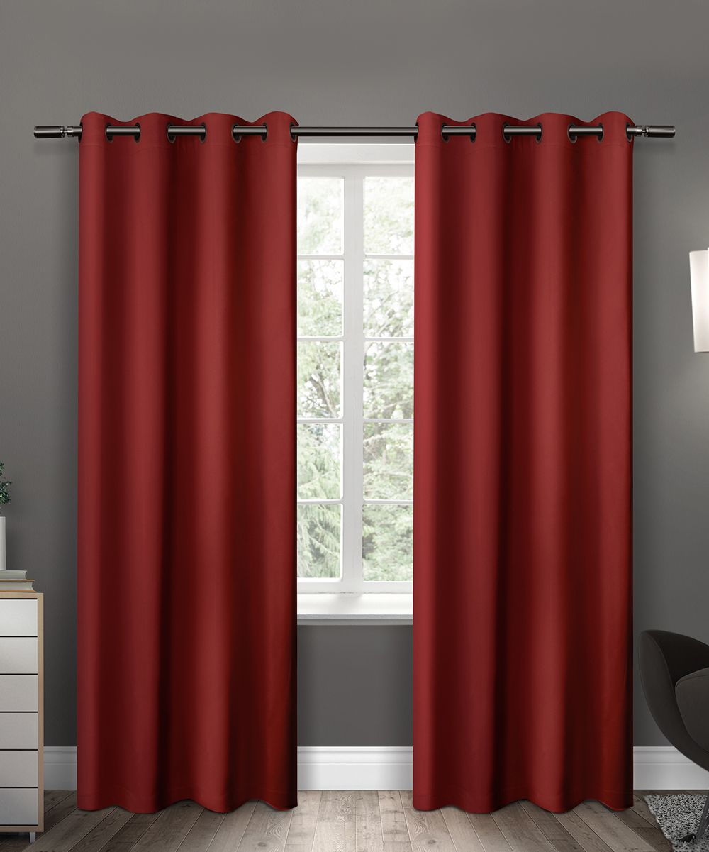Window top decor  red insulated blackout curtain panel  set of two  products