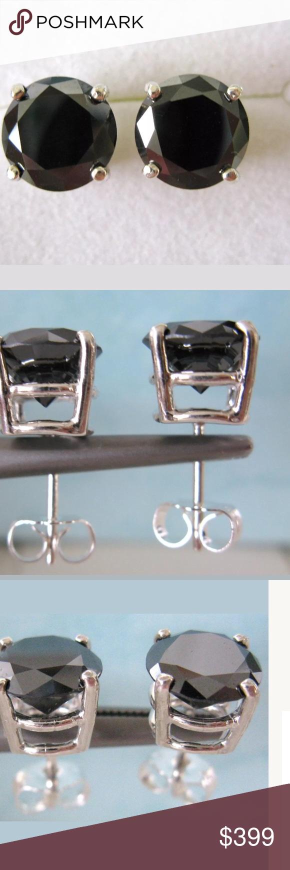 Flash 1020 2 0ctw Natural Black Diamond Stud Boutique