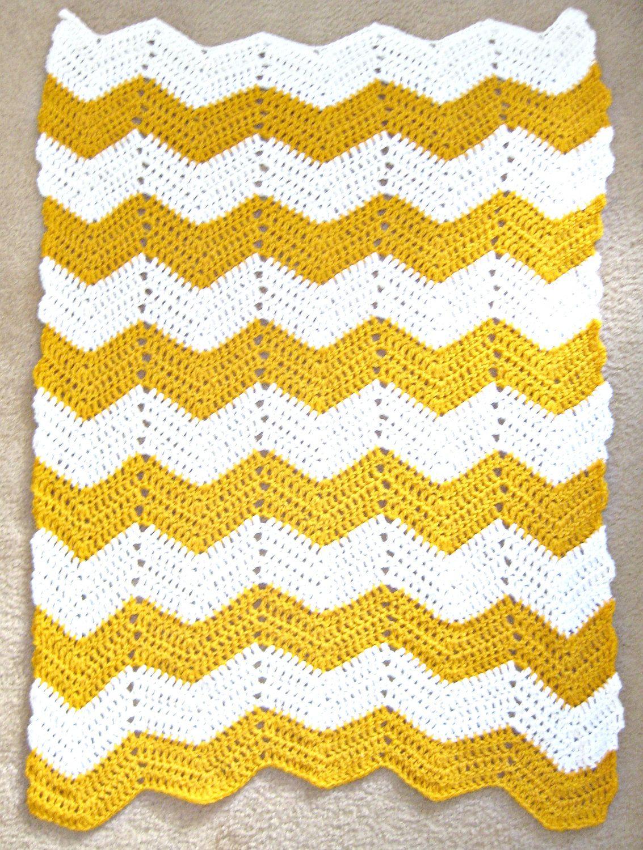 Chevron Throw Blanket Mustard Yellow And White Zig Zag Afghan 50 00 Via Etsy Yellow Blankets Throw Blanket Blanket
