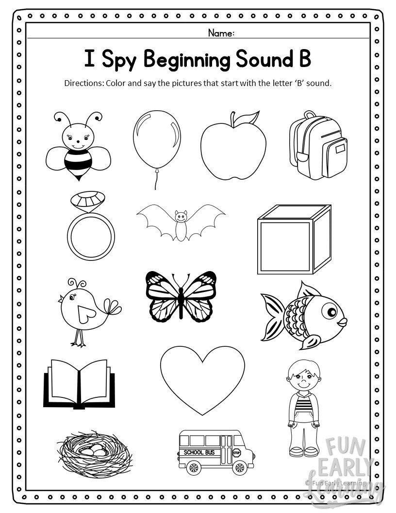 Kindergarten Phonics Worksheets Free Printable I Spy Beginning sounds  Activity Free Prin…   Phonics kindergarten [ 1056 x 816 Pixel ]