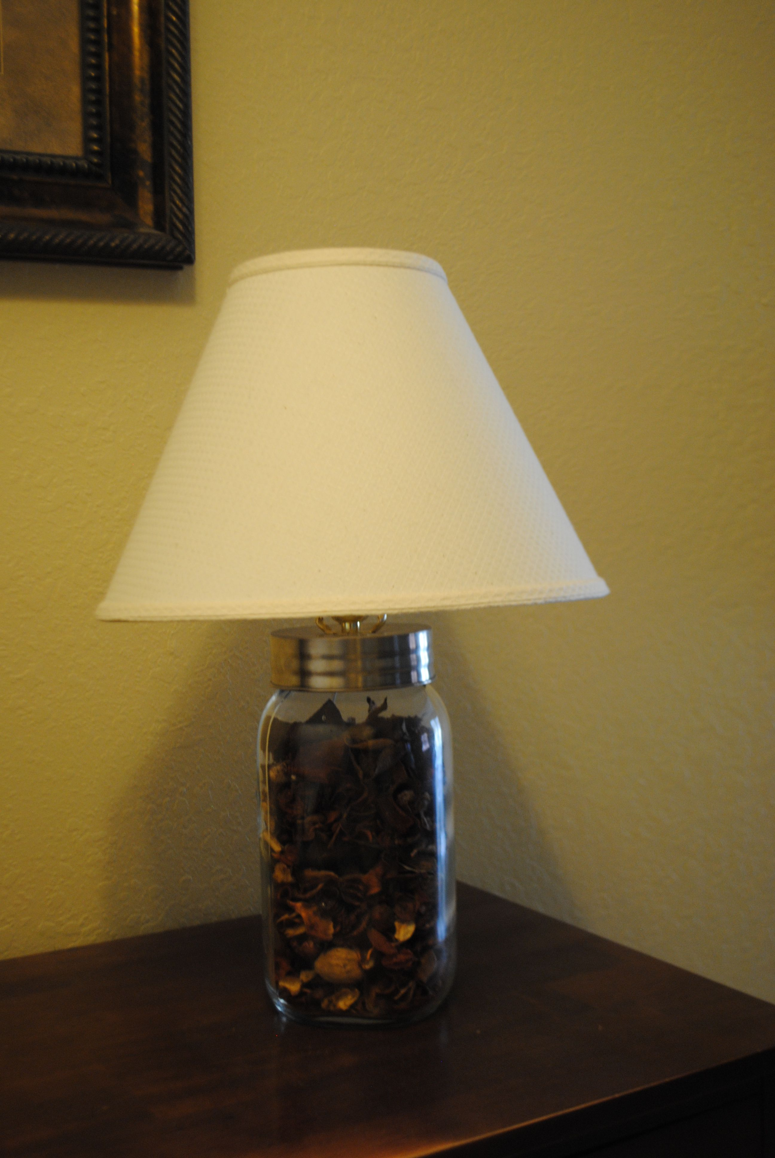 Lamp made from a giant mason jar. I bought the lamp kit at