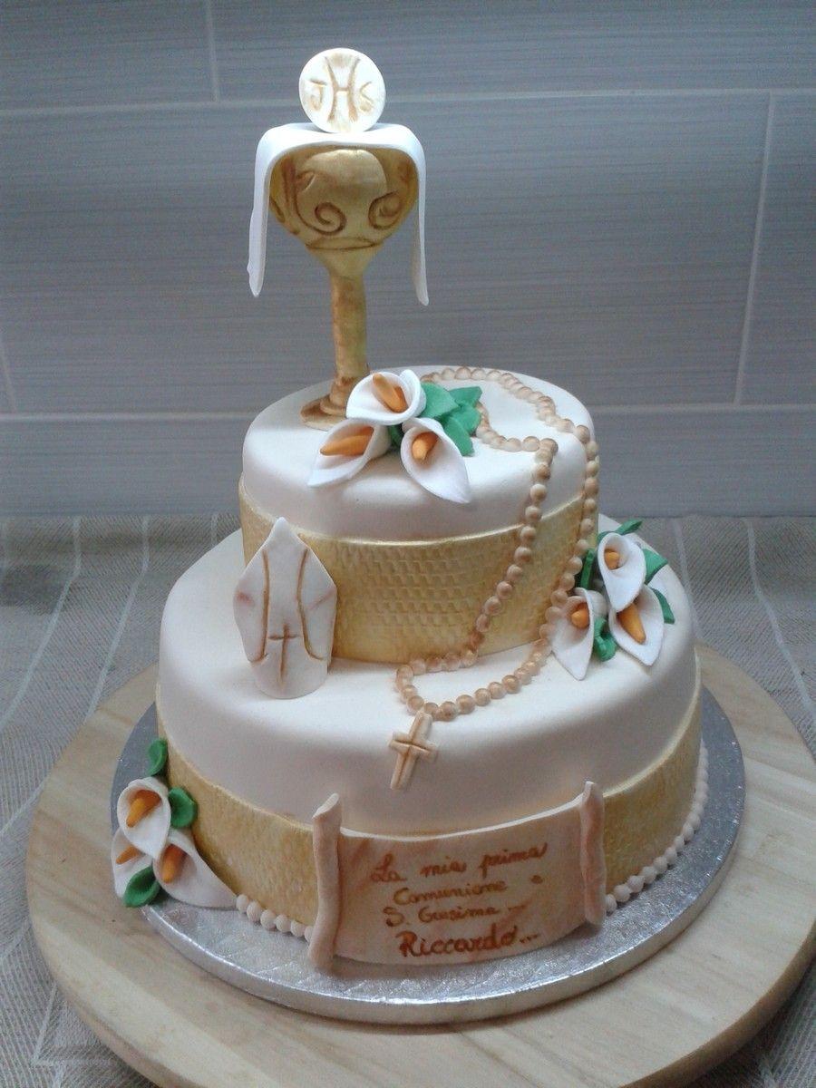 Mary russo torta comunione e cresima pds al cacao e for Decorazione torte prima comunione