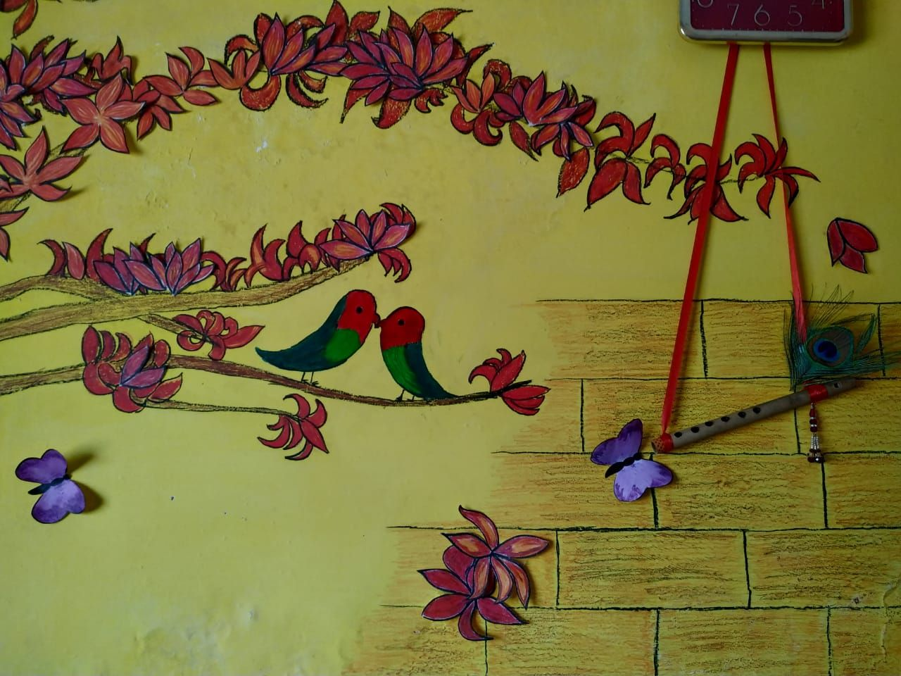 diy room decor by drawing on wall by oil pastel colours ...