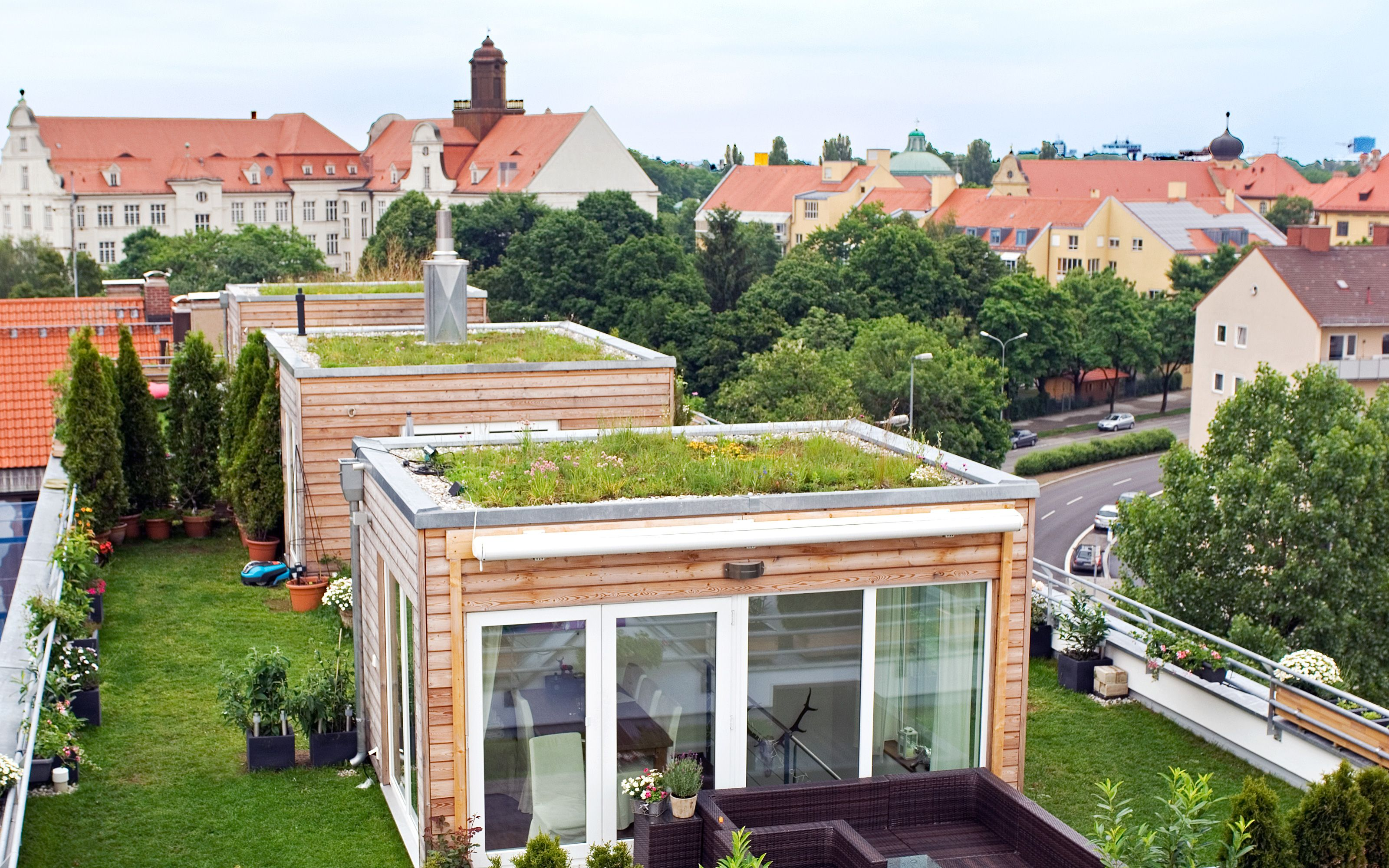 The Wooden Cubes Have Also Been Planted With Sedum Species Green Roof House Green Roof Roof Garden