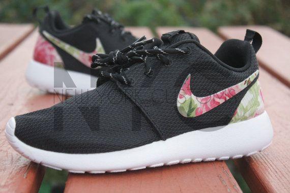 081dba0d2bd9 Custom Nike Roshe Run Black Rose Garden by NYCustoms on Etsy