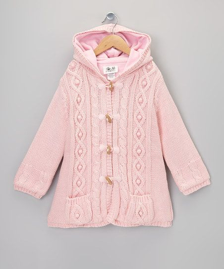 Pink Cable Knit Hooded Jacket - Toddler & Girls