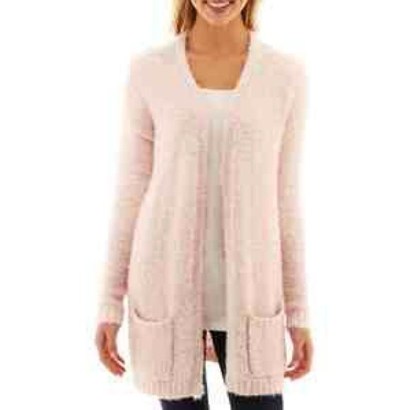 New light pink fuzzy open boyfriend cardi