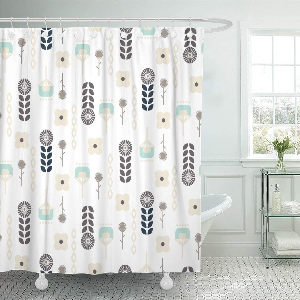 Scandinavian Folk Floral Garden Pattern Geo Beige And Blue Shower Curtain In 2020 Blue Shower Curtains Curtains