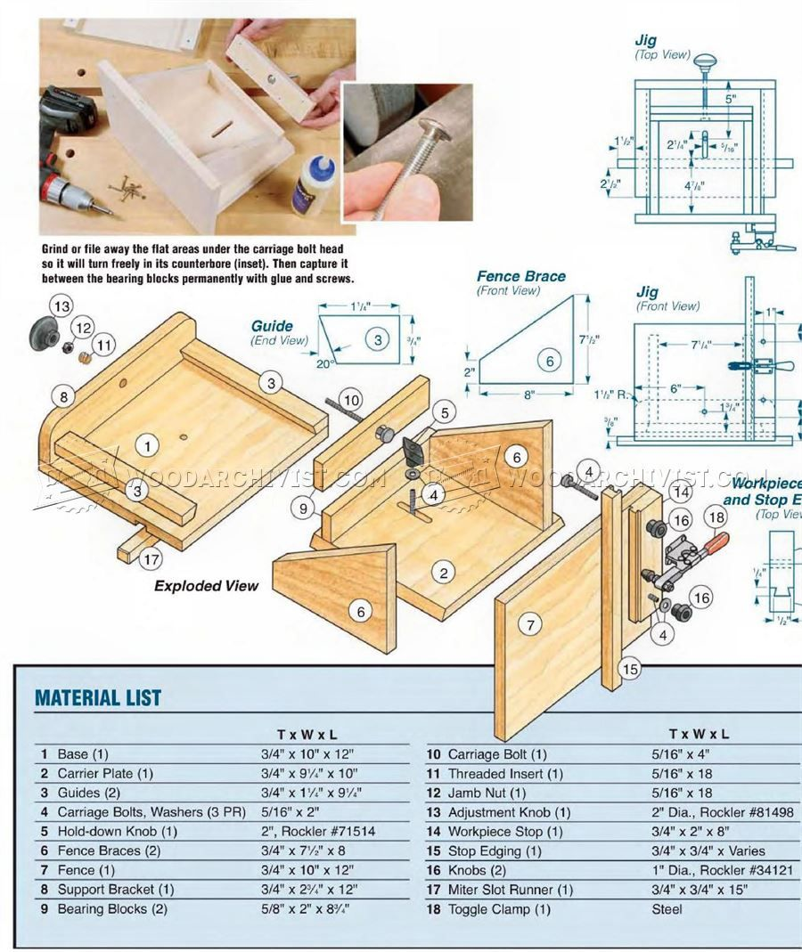 2115 Adjustable Tenoning Jig Plans Joinery Wood Crafts Diy Jig How To Plan