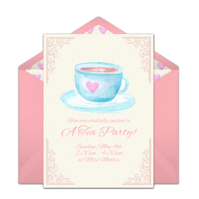 Customizable Free Tea Party Online Invitations Easy To Personalize And Send For A Punchbowl