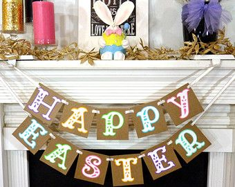 Happy Easter Decoration Happy Easter Banner Rustic Easter Banner