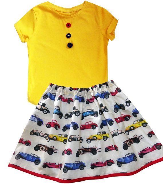 Girl's Car Skirt and T-Shirt, Girls Tee Shirt, Girls Clothing, Toddler Clothing, Girls Outfit