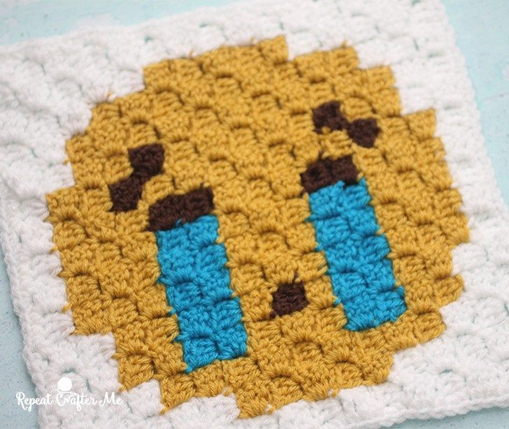Sobbing Emoji C2C Crochet Square and Pixel Graph - Repeat Crafter Me