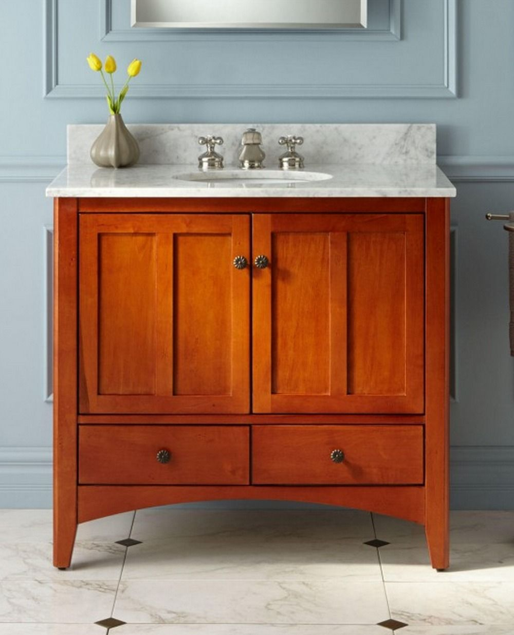 "36"" Ibarra Vanity For Undermount Sink  Cherry  Cherry Finish Inspiration Cherry Bathroom Vanity Inspiration"