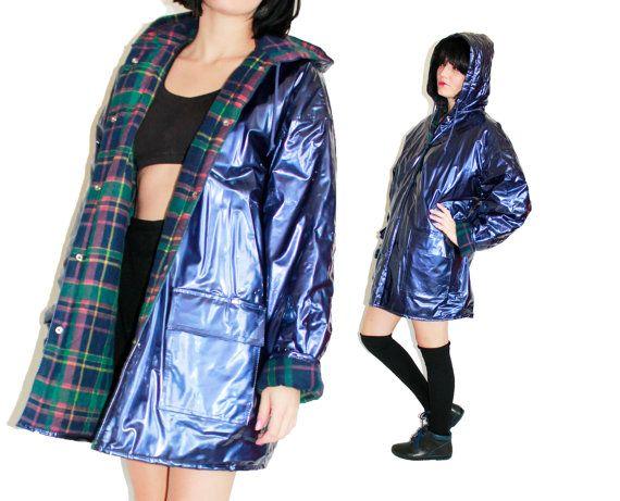 Purple Metallic Rain Coat PVC Vinyl Rain Jacket Plaid Lined ...