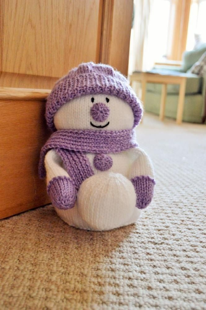 Photo of Snowman Doorstop Knitting pattern by Knitting by Post